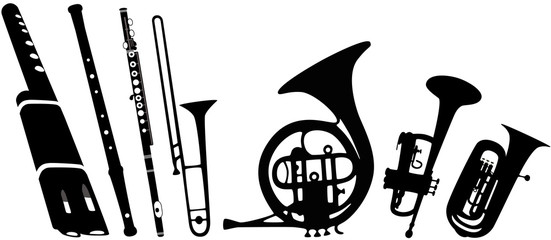 wind instruments vector collection