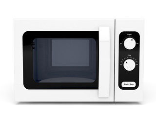 Microwave oven on white background