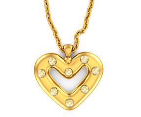 heart-shaped pendant with diamonds