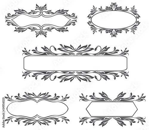 Collection of beauty ornate vintage frames isolated on white\