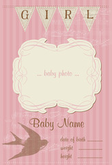 Beautiful Arrival Vintage Card - with place for your text and ph