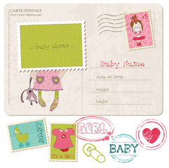 Baby Girl Greeting Postcard with place for your photo and text-