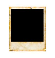 Old blank photo frame isolated on white background