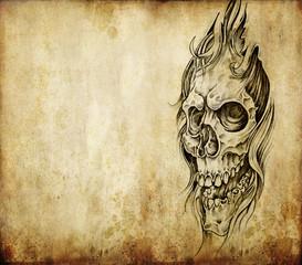 Fototapete - Tattoo art, death