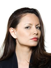 Closeup portrait of beautiful serious Asian woman