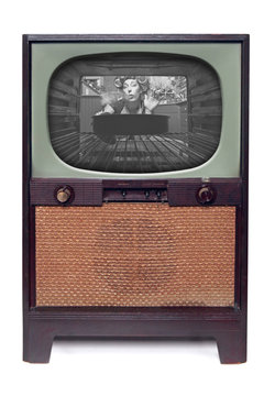 Vintage 1950 TV Television  Isolated on White