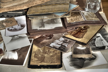 Old photos and albums in sepia and b&w.