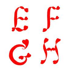 alphabet heart letters