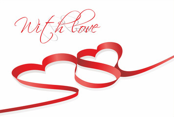 red heart ribbon bow isolated on white background