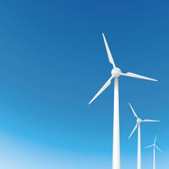 風力発電の風車と青空