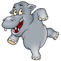 Happy Hippo - colored cartoon illustration