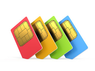 sim cards isolated on white background
