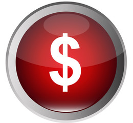 Red Glossy vector Button-US Dollar