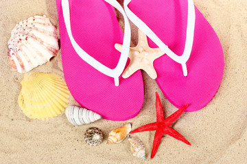beach shoes, shells and starfish on sand