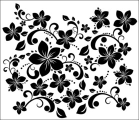 Poster Floral black and white floral swirl