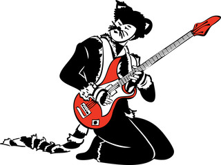 a cat actor plays the electric guitar