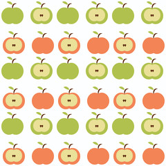 Seamless retro apples colorful background illustration