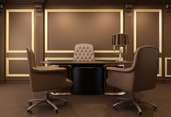 Classical and modern office interior.