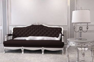 Luxurious sofa in modern interior. Luxe. Furniture in royal apar
