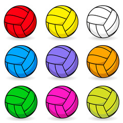 Cartoon volleyball in different colors