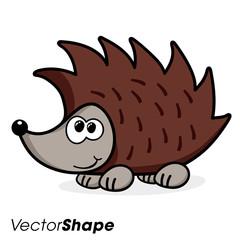 Cartoon funny looking hedgehog smiling
