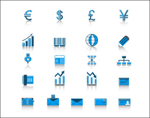 blue finance and office icon set