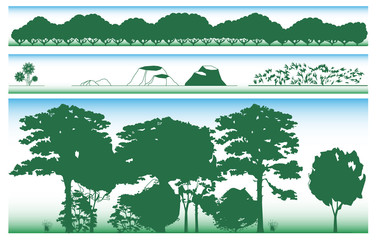 set of different trees...vector