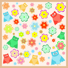 wallpaper with funny cartoon owl with flowers background