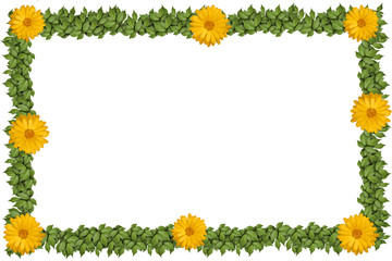 Green plant frame with flowers, on white