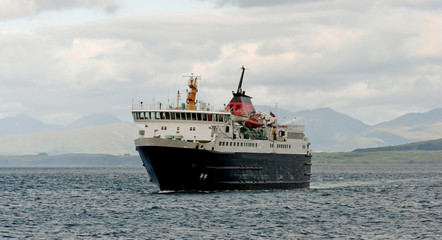 A ferry sailing in the Scottish Highlands