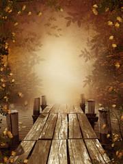 Wall Mural - Jesienny krajobraz z drewnianym molo