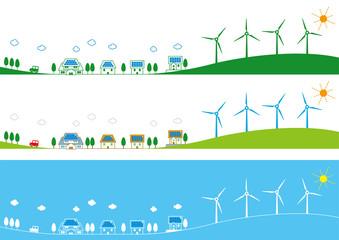 風力発電と太陽光発電の町