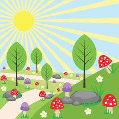 Cartoon bright landscape with mushrooms