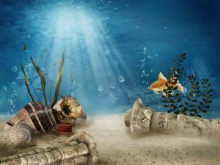 Poster Submarine Podwodne ruiny z muszelkami