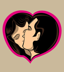 Couple kissing in love heart