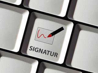Digitale Signatur auf Tastatur