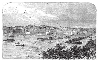 Albany, New York, in 1890. Capital city of New York state. Engra