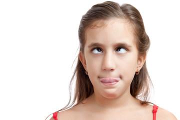 Cross-eyed girl isolated on white