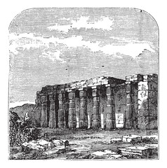 Temple of Luxor (or Quorenth) ruins, in Thebes, Egypt. Vintage e