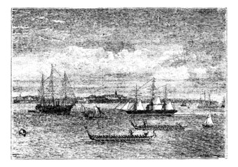 Auckland harbor in the 1890s vintage engraving, New Zealand