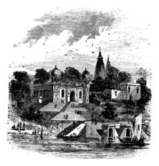 Bithoor, Ghat, Ganges, Kanpur, Uttar Pradesh,  India, vintage en