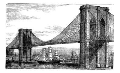 Illustration of Brooklyn Bridge and East River, New York, United