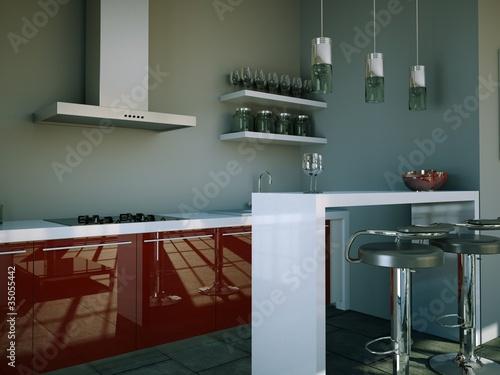 """Küchendesign - Küche grau rot"""" Stockfotos und lizenzfreie Bilder ..."""