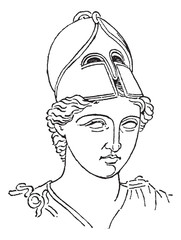 Greek Centurion brush helmet or galea vintage engraving