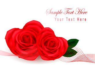 Valentine greeting card with hearts made from roses. Vector.
