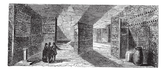 Catacombs or Ossuary,Paris, France vintage engraving