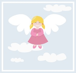 Happy angel with clouds flying in the sky