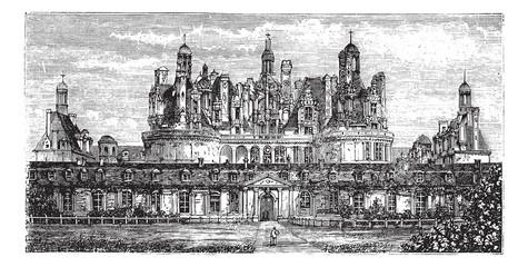 Chateau de Chambord, Loire Valley, France vintage engraving