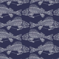 texture with the skeletons of fish