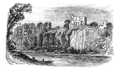 Chepstow Castle, in Monmouthshire, Wales, during the 1890s, vint